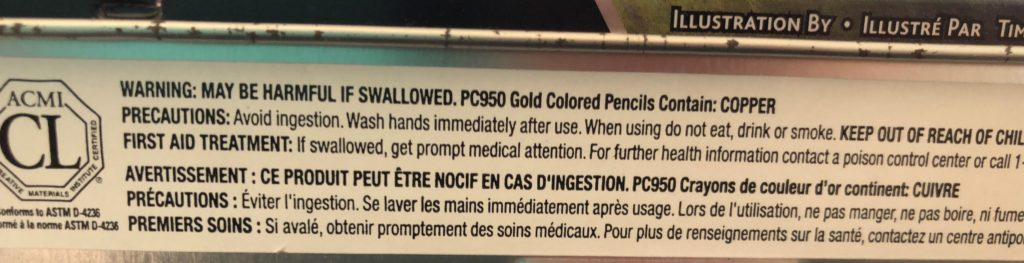 Safety notice from side of Prismacolor Premier 72 set