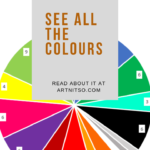 Pinterest image of Derwent Inktense blocks all colours pie chart. Text says 'Derwent Inktense blocks - see all the colours. Read about it at Artnitso.com'