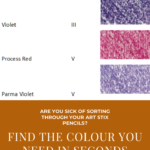 Pinterest image of Prismacolor Artstix violet colour charts, name and lightfast ratings. Text says 'Are you sick of sorting through your Art Stix pencils? Find the colour you need in seconds. Use the online colour chart at Artnitso.com'.