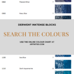 Pinterest image showing the names, numbers, lightfast ratings and blue colour swatches of the Derwent Inktense blocks. Text says 'Derwent Intense Blocks - search the colours - use the online colour chart at Artnitso.com'.
