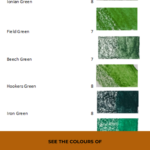 Pinterest image showing the names, numbers, lightfast ratings and green colour swatches of the Derwent Inktense blocks. Text says 'See the colours of Derwent Inktense Blocks. Search and sort at Artnitso.com'.