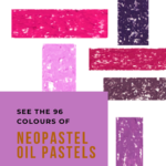 Pinterest image of Caran d'Ache Neopastel oil pastel violet swatches. Text says 'See the 96 colours of neopastel oil pastels. Read about it at Artnitso.com.'