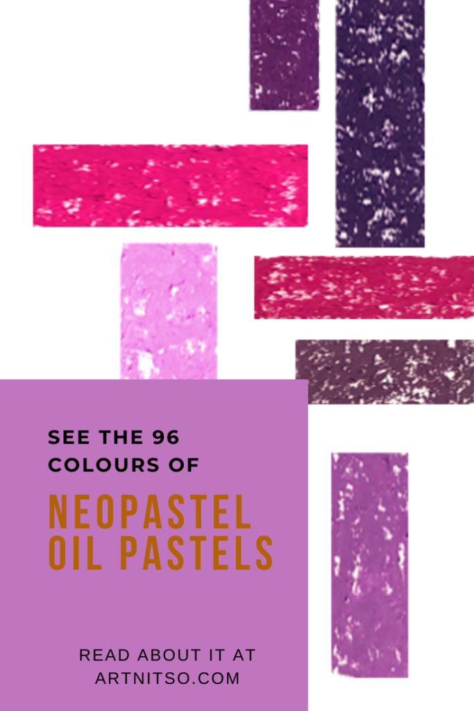 Pinterest image of Caran d'Ache Neopastel oil pastel violet swatches. Text says'See the 96 colours of neopastel oil pastels. Read about it at Artnitso.com.'