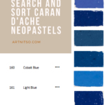Pinterest image of Caran d'Ache Neopastel blue colours swatches and information. Text says 'Dynamic colour chart - search and sort Caran d'Ache Neopastels. Artnitso.com'