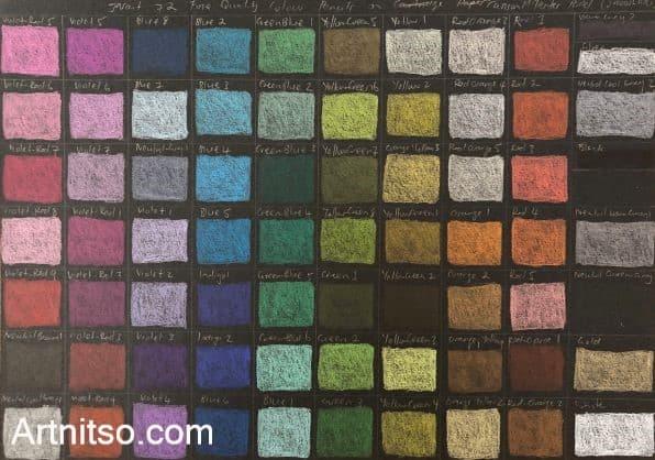 Set of 72 Jasart pencil colours on black paper. Artnitso.com