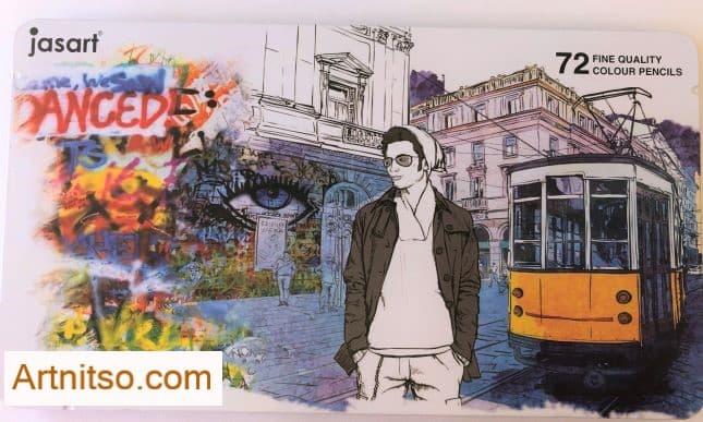 72 Jasart pencils tin cover-Artnitso.com