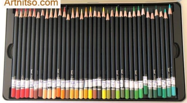 Jasart set of 72 view of a layer of pencils when named and organised. Artnitso.com