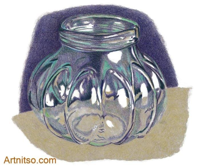 Coloured Pencil Glass jar - artnitso.com