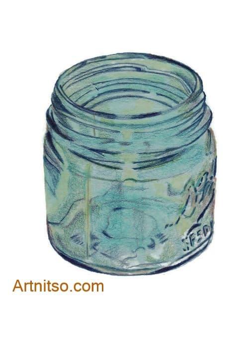 Coloured Pencil glass jar 2 - artnitso.com