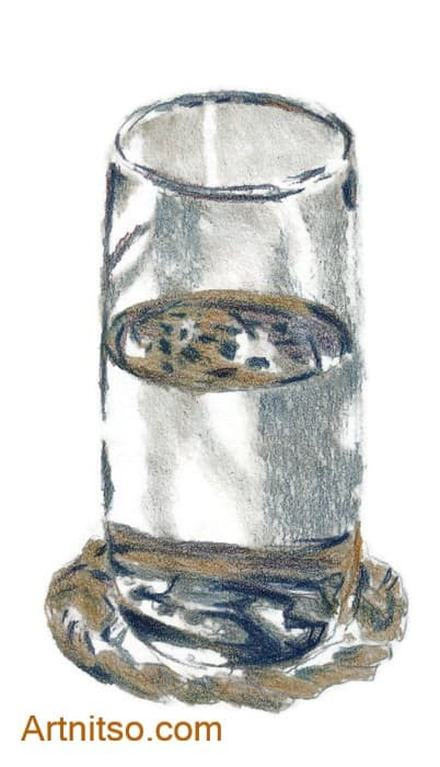 Drawing of glass in coloured pencils