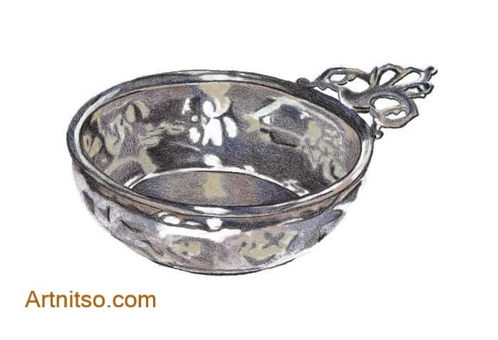 Coloured Pencil silver bowl -artnitso.com