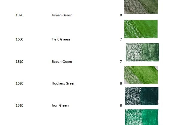 Derwent Inktense Blocks 72 green - Artnitso.com