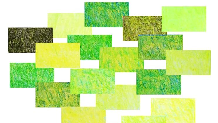 Caran d'Ache Luminance set of 12 yellow-green colours created by layering coloured pencils. Artnitso.com
