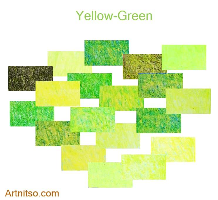 Caran d'Ache Luminance set of 12 yellow-green colours created by layering coloured pencils. Artnitso.com