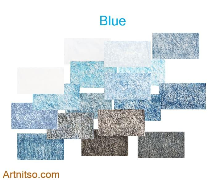 Caran d'Ache Luminance set of 12 blue colours created by layering coloured pencils. Artnitso.com