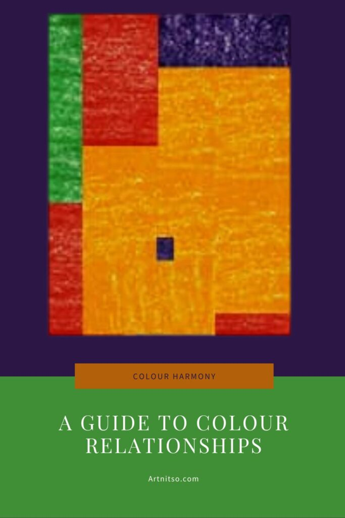 Pinterest image Text says - Colour harmony - a guide to colour relationships - Artnitso.com