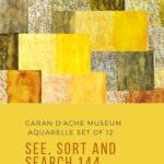 Pinterest image of orange-yellow colour swatches of Caran d'Ache Museum Aquarelle pencils. Text says 'Caran d'Ache Museum Aquarelle set of 12 - see, sort and search 144 colour recipes. Artnitso.com'.