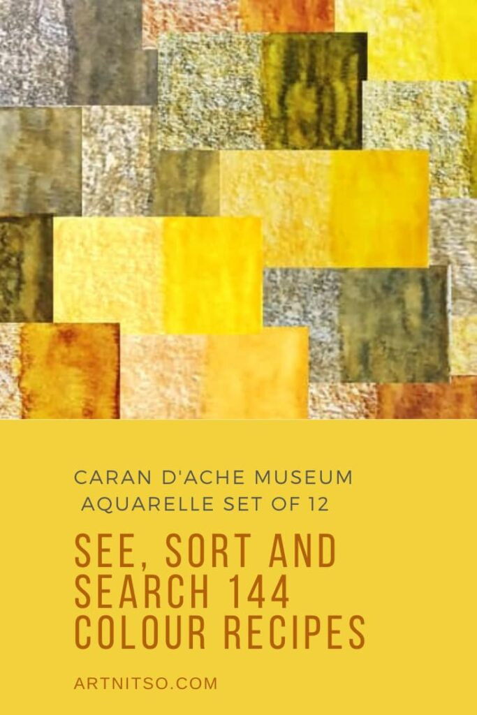 Pinterest image of orange-yellow colour swatches of Caran d'Ache Museum Aquarelle pencils. Text says'Caran d'Ache Museum Aquarelle set of 12 - see, sort and search 144 colour recipes. Artnitso.com'.