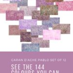 Pinterest image of violet colour swatches. Text says 'Caran d'Ache Pablo set of 12 - see the 144 colours you can make. Artnitso.com'