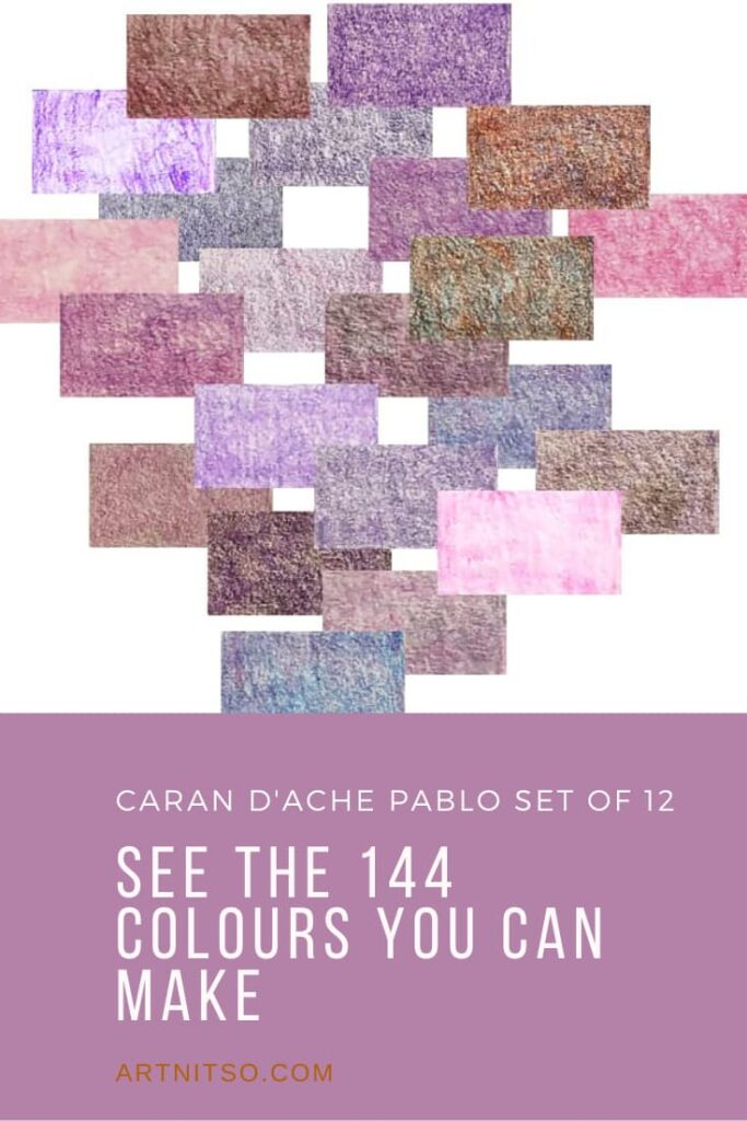 Pinterest image of violet colour swatches. Text says'Caran d'Ache Pablo set of 12 - see the 144 colours you can make. Artnitso.com'