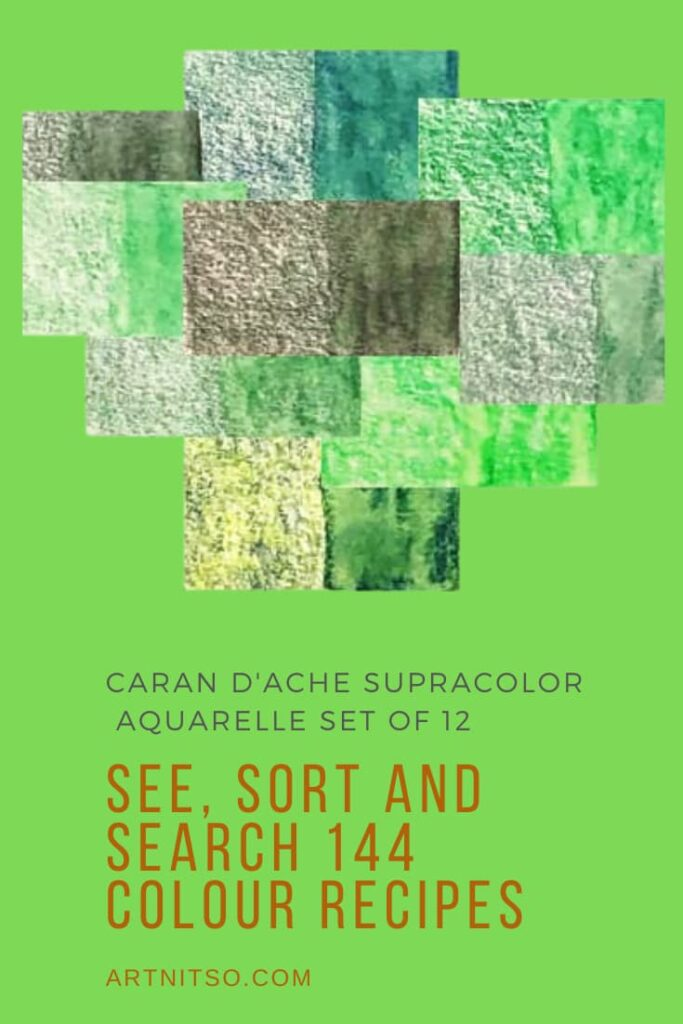 Pinterest image of green colour swatches of Caran d'Ache Supracolor pencils. Text says'Caran d'Ache Supracolor Aquarelle set of 12 - see, sort and search 144 colour recipes. Artnitso.com'.