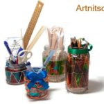 Painted used jars for storing utensils