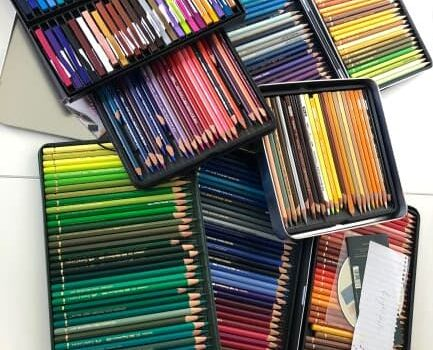 A display of 8 trays of coloured pencils in their set containers. These coloured pencil were grouped after an art and craft supplies audit.