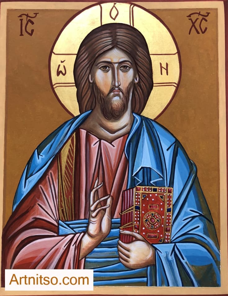 Egg Tempera Iconography Christ Pantocrator Board - Artnitso.com