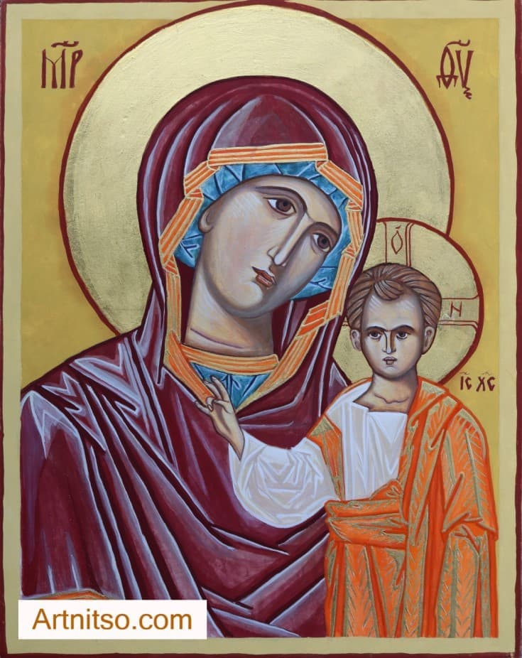 Egg Tempera Iconography Mother of God and Child Board - Artnitso.com